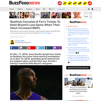 StubHub Canceled A Fan's Tickets To Kobe Bryant's Last Game When Their Value Increased 664%