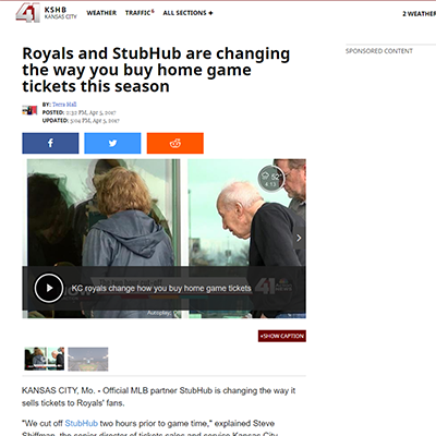 KSHB - Royals and StubHub are changing the way you buy home game tickets this season