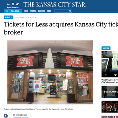 Tickets For Less acquires Kansas City ticket broker