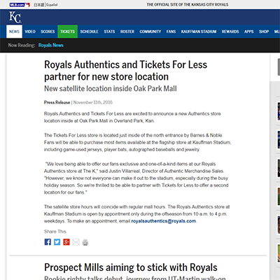 Royals Authentics and Tickets For Less partner for new store location