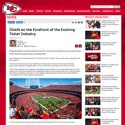 Chiefs on the Forefront of the Evolving Ticket Industry