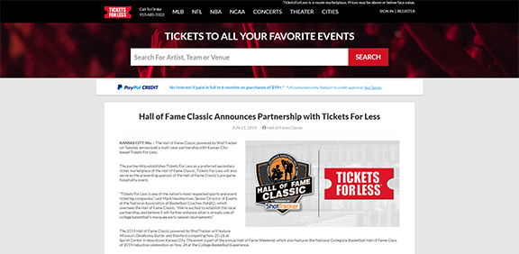 Hall of Fame Classic Announces Partnership with Tickets For Less