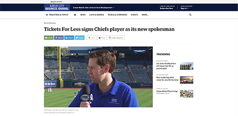 Tickets For Less signs Chiefs player as its new spokesman