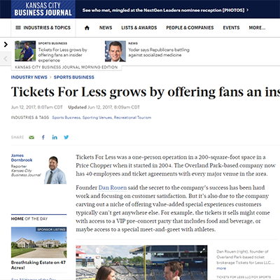 Tickets For Less grows by offering fans an insider experience