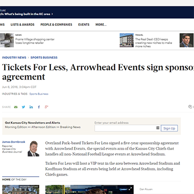 Tickets For Less, Arrowhead Events sign sponsorship agreement