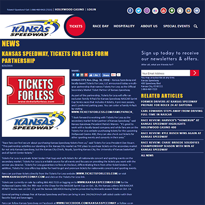 Kansas Speedway, Tickets For Less Form Partnership